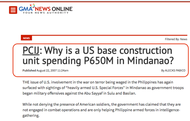 PCIJ admits US military in mindanao