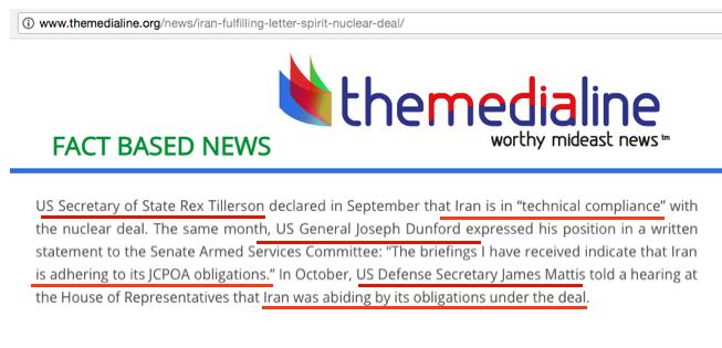 tillerson, mattis Iran compliance